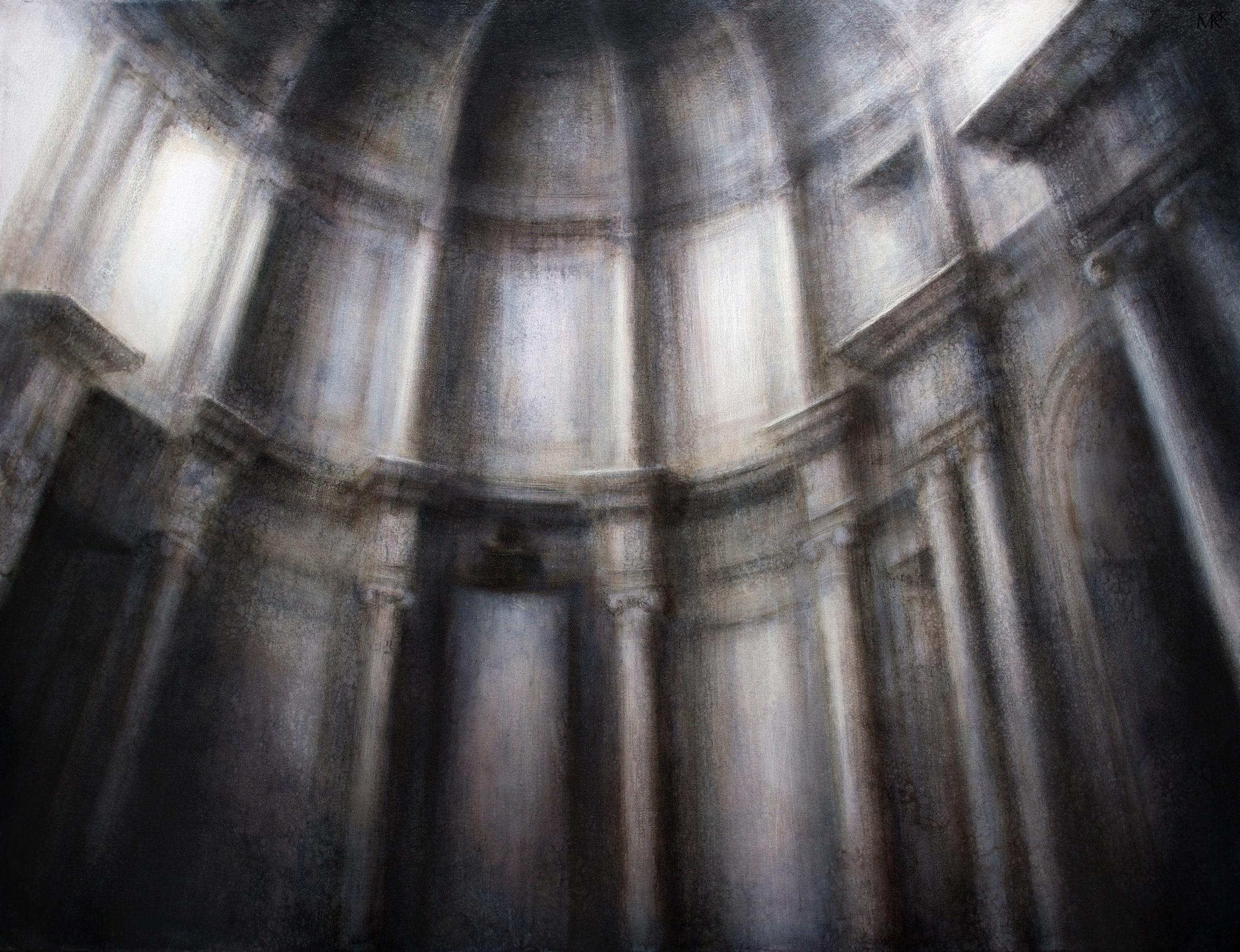 "Maya Kulenovic: APSE, 2015-16, oil on canvas, 73"" x 55"" (185cm x 140cm). 'Build' Series (Architecture, Interior)"
