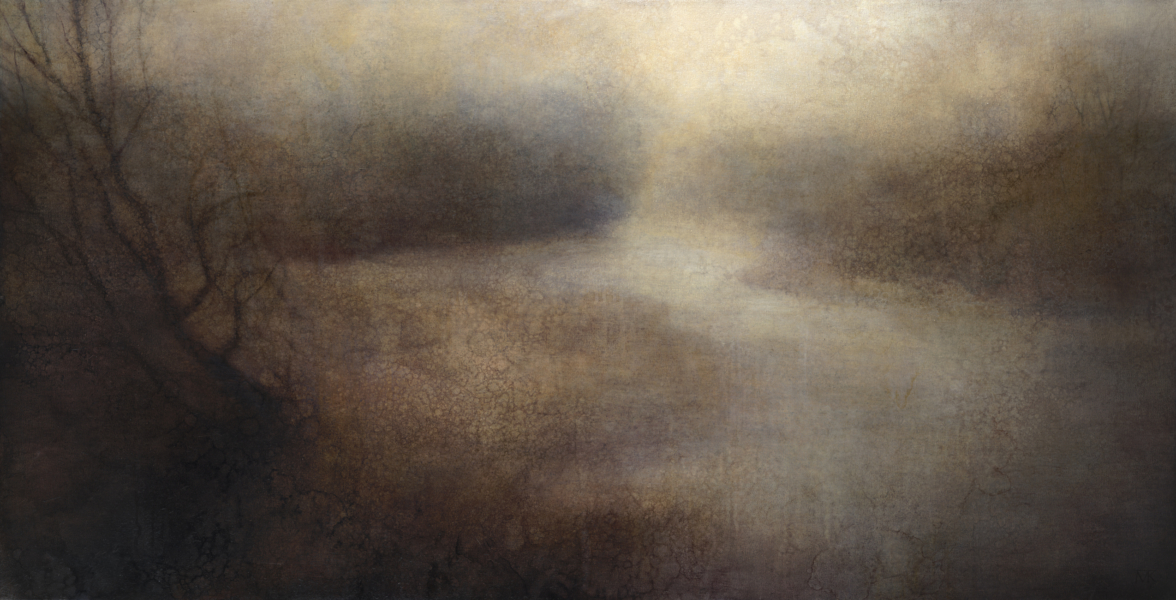 "Maya Kulenovic: BLIND RIVER, 2013, oil on canvas, 35"" x 68"", (89cm x 173cm). 'Land' Series."