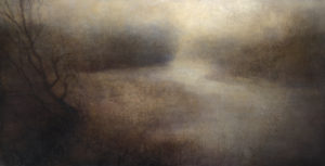 "Maya Kulenovic: BLIND RIVER, 2013, oil on canvas, 35"" x 68"", (89cm x 173cm). 'Land' Series."