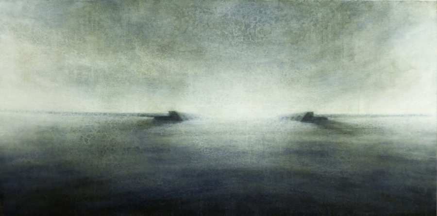 "Maya Kulenovic: BREAKWATER, 2012, oil on canvas, 26"" x 40"" (66cm x 102cm)/ 'Build' Series."