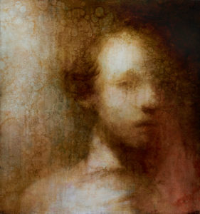 "Maya Kulenovic: BRIMSTONE, 2012, oil on canvas, 26"" x 24"" (66cm x 61cm). 'Faces' Series."