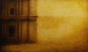 "Maya Kulenovic: DESERT / EDGE 2015, oil on canvas, 23"" x 37"" (58.5cm x 94cm). 'Build' Series."