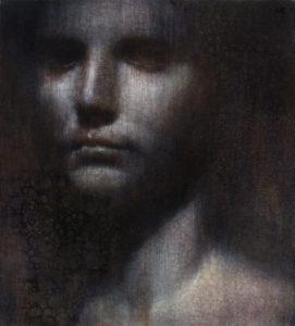 "Maya Kulenovic: ROMAN, 2015, oil on canvas, 32"" x 28"" (81cm x 71cm), 'Faces' Series."