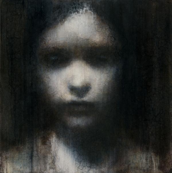"Maya Kulenovic: FIGURE OF RAIN 2011, oil on canvas, 24"" x 24"" (61cm x 61cm). 'Faces' Series."