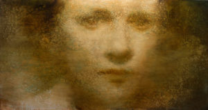 "Maya Kulenovic: IRIS, DUST 2016, oil on canvas, 36"" x 67"" (92cm x 170cm). 'Faces' Series."
