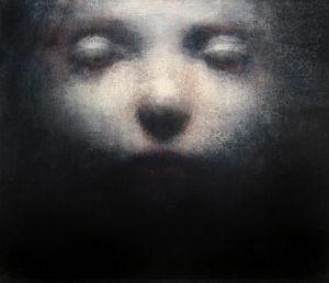 "Maya Kulenovic: LITHIUM, 2012, oil on canvas, 20"" x 22"" (51cm x 56cm). 'Faces' Series."