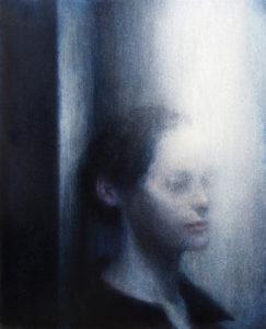 "Maya Kulenovic: MIRIAM WAKING, 2017, oil on canvas, 40.5"" x 32"" (103cm x 82cm). 'Faces"" Series."