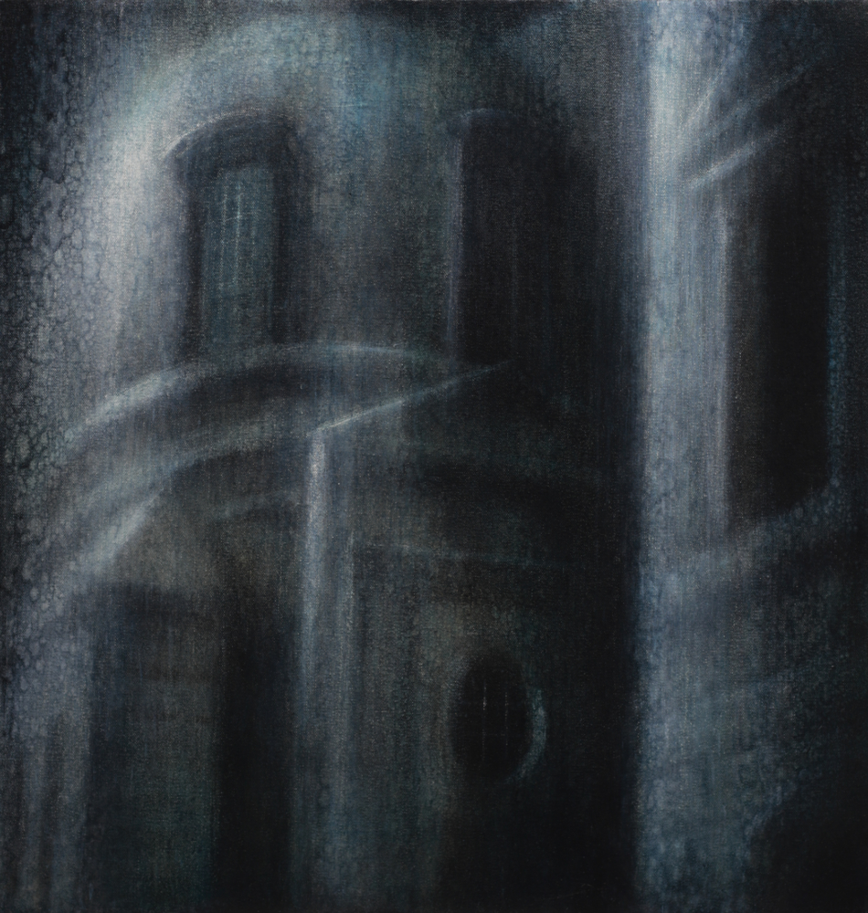 "Maya Kulenovic: NOCTURNE, 2018, oil on canvas, 24"" x 22"" (56cm X 61cm). Painting; 'Build' Series."