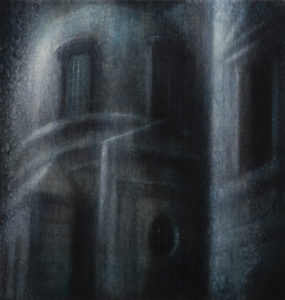 "Maya Kulenovic: NOCTURNE, 2018, oil on canvas, 24"" x 22"" (56cm X 61cm). Painting; 'Build' Series."