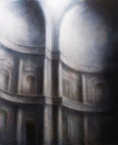 "Maya Kulenovic: OSTEON 2016, oil on canvas, 71"" x 57.5"" (180cm x 146cm). 'Build' Series, (Architectural, Interior)"