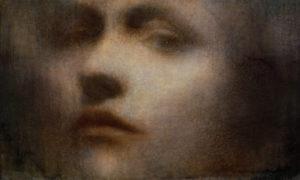 "Maya Kulenovic: PALLAS, 2016, oil on canvas, 30"" x 59.5"" (76cm x 151cm). 'Faces' Series."