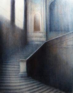 "Maya Kulenovic: RAIN (INTERIOR), 2017, oil on canvas, 61"" X 48.7"", 155cm X 124cm. 'Build' Series. (Architectural)"