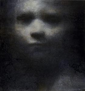 "Maya Kulenovic: RUMOUR, 2011, oil on canvas, 25"" x 23"" (63.5cm x 58.5cm). 'Faces' Series."