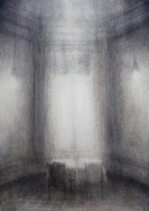 "Maya Kulenovic: SEA'S END, 2018, oil on canvas, 40"" x 28"" (102cm x 71cm). 'Build' Series. (Architecture, Interior)"