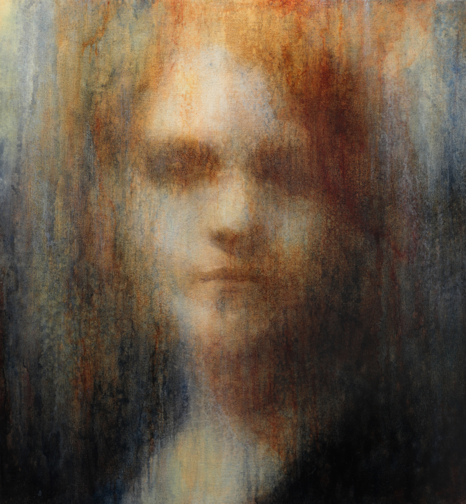 "Maya Kulenovic: SPECTRAL, 2018, oil on canvas, 27"" x 24"" (69cm x 61cm). 'Faces' Series."