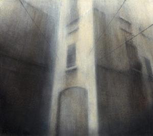 "Maya Kulenovic: VEIL OF RAIN, 2013, oil on canvas, 28.5"" x 32"" (72cm x 81cm). 'Build' Series (Architectural; Cityscape)"