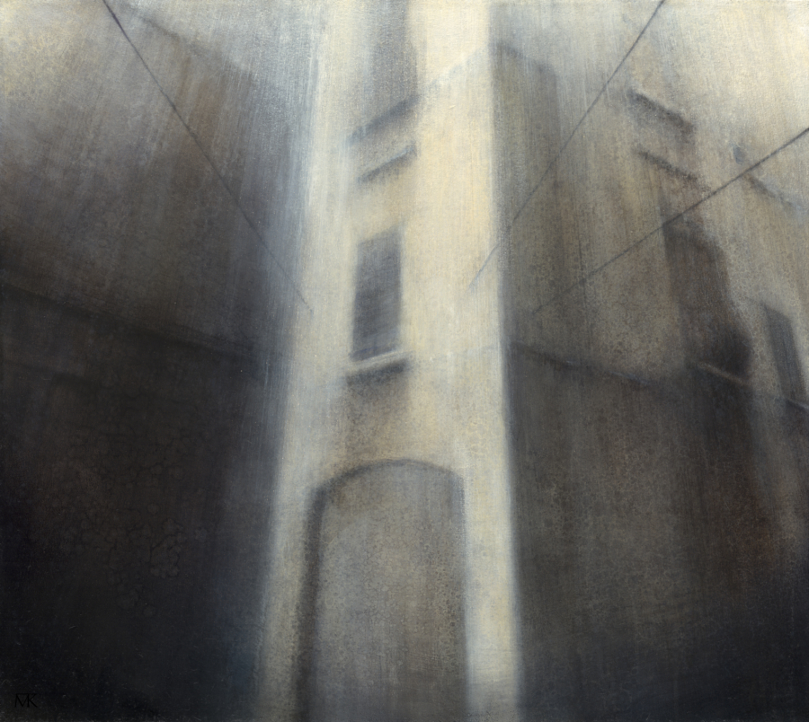 "Maya Kulenovic: VEIL OF RAIN, 2013, oil on canvas, 28.5"" x 32"" (72cm x 81cm). 'Build' Series (Architectural; Cityscape)"