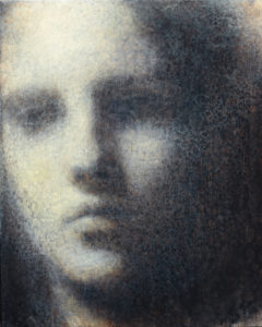 "Maya Kulenovic: INTERLUDE No1, 2019, oil on wood panel, 20"" x 16"" (51cm, x 40.5cm). 'Faces' Series."