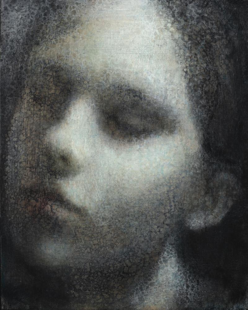 Maya Kulenovic; INTERLUDE No2, 2019. Oil on wood panel. 'Faces' series.