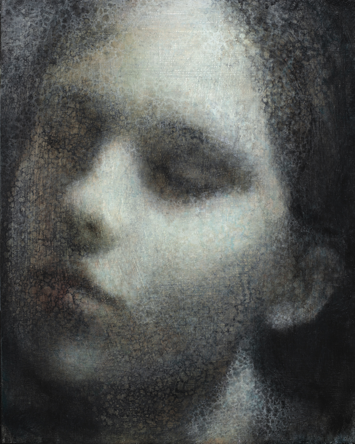 Maya Kulenovic; INTERLUDE No2, 2019. Oil on wood panel. 'Faces' series.