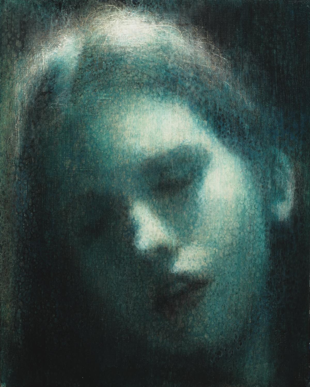 Maya Kulenovic; INTERLUDE No3, 2019. Oil on wood panel. 'Faces' series.