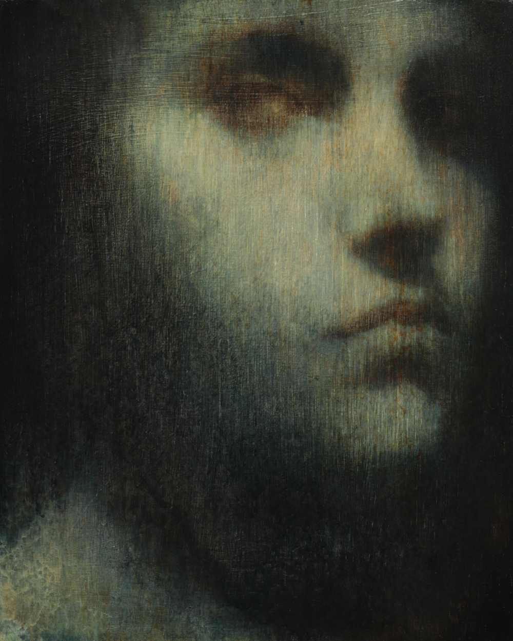 Maya Kulenovic; INTERLUDE No4, 2019. Oil on wood panel. 'Faces' series.
