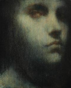 "Maya Kulenovic: INTERLUDE No4, 2019, oil on wood panel, 20"" x 16"" (51cm, x 40.5cm). 'Faces' Series."