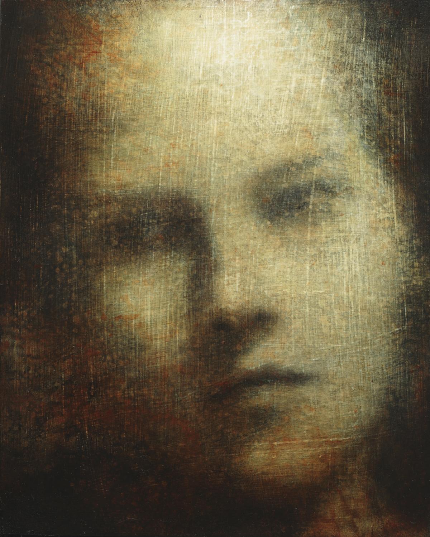 Maya Kulenovic; INTERLUDE No6, 2019. Oil on wood panel. 'Faces' series.