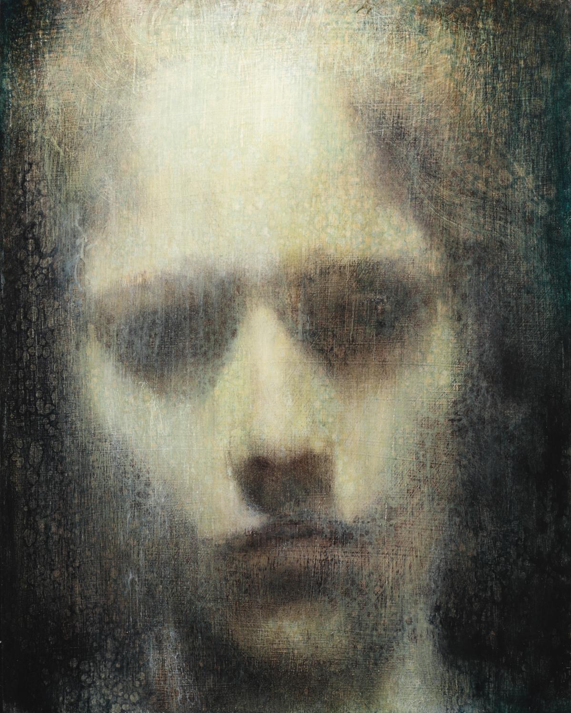Maya Kulenovic; INTERLUDE No7, 2019. Oil on wood panel. 'Faces' series.
