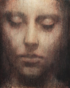 "Maya Kulenovic: INTERLUDE No9, 2019, oil on wood panel, 20"" x 16"" (51cm, x 40.5cm). 'Faces' Series."