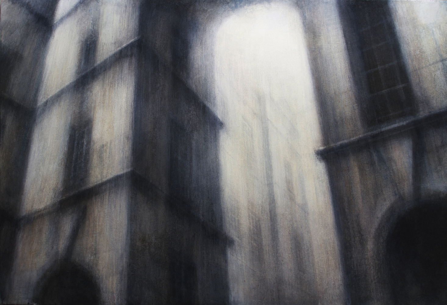 "Maya Kulenovic: APERTURE, 2018, oil on canvas, 36"" x 53"" (91.5cm x 135cm). 'Build' Series (Architecture, Cityscape)"