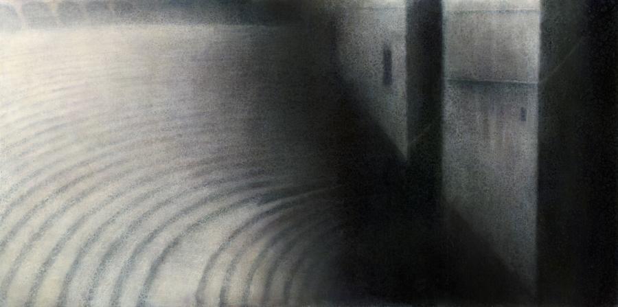 "Maya Kulenovic: ASH, 2012, oil on canvas, 36"" x 72"" (91.5cm x 183cm). 'Build' Series."