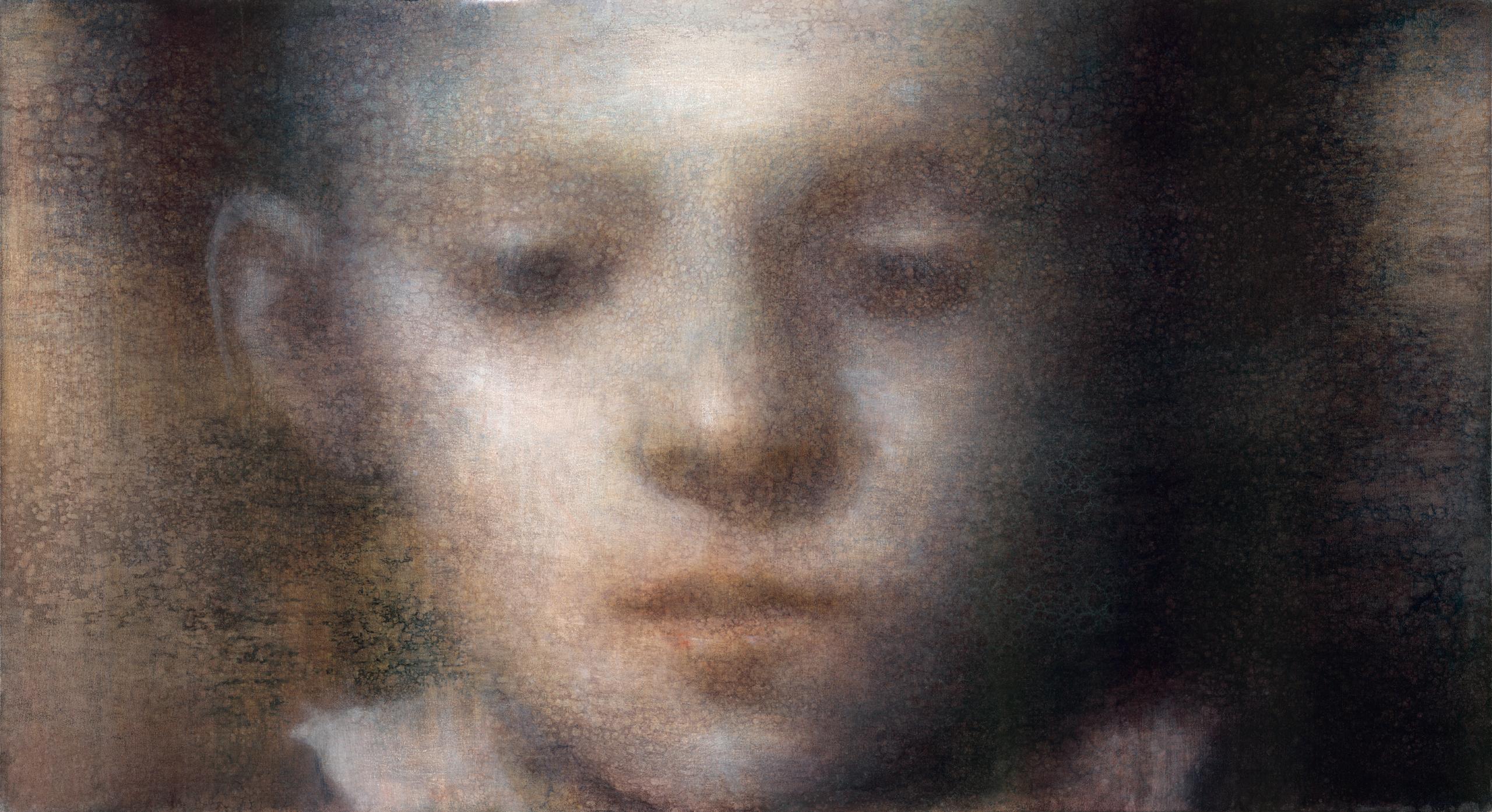 "Maya Kulenovic: BOY WITH WINDOW, 2016, oil on canvas, 37"" x 67.5"" (94cm x 171.5cm). 'Faces' Series."