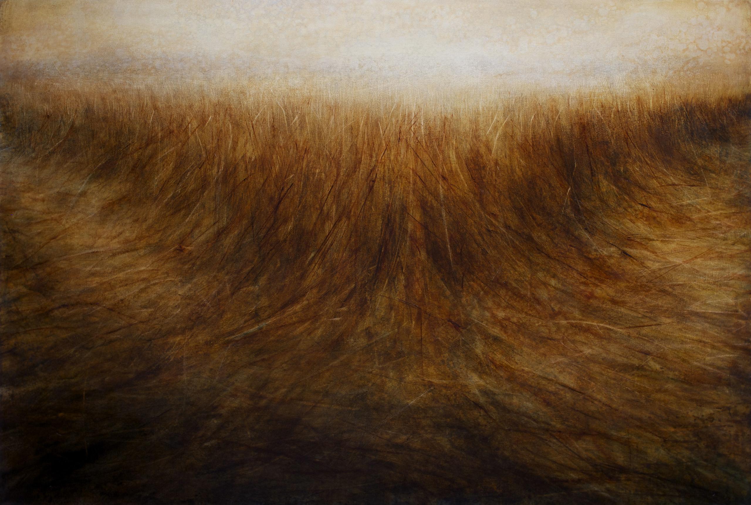 "Maya Kulenovic: GRASSLANDS / DELTA, 2017, oil on canvas, 54"" x 78.2"", 137.5cm x 198.5cm. 'Land' Series; 'Grasslands' Series."