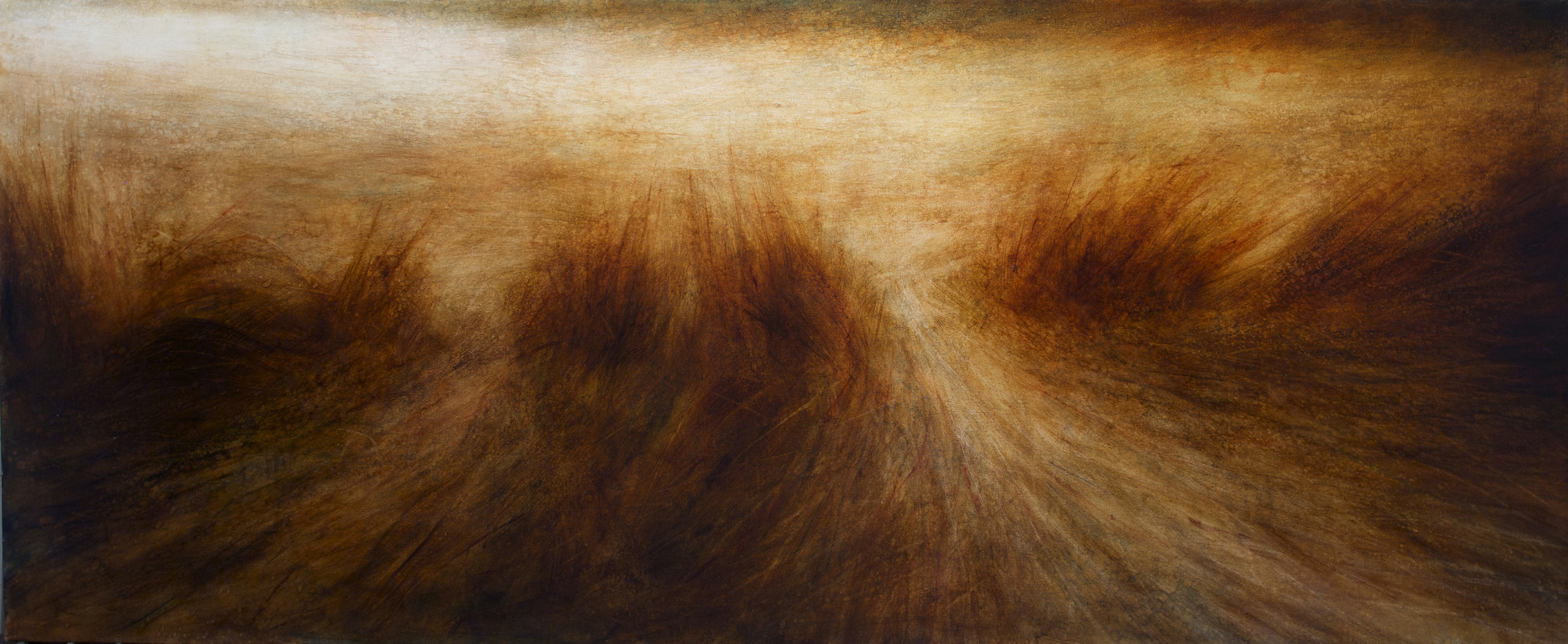 "Maya Kulenovic: GRASSLANDS / DOWNSTREAM, 2017, oil on canvas, 40"" X 94"" (102cm X 238cm). 'Land' Series; 'Grasslands' Series"