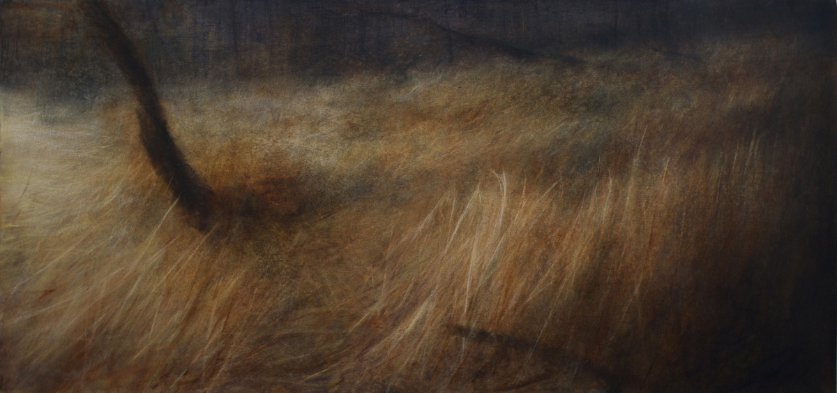 "Maya Kulenovic: GRASSLANDS / LOCUS, 2018, oil on canvas, 32.5"" x 67.5"" (83cm x 171cm). 'Land' Series; 'Grasslands' Series."