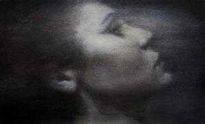 "Maya Kulenovic: HANNA'S WAIT, 2017, oil on canvas, 37"" x 59.5"" (94cm x 151cm). 'Faces' Series."