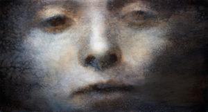 "Maya Kulenovic: HYPNOSIS, 2017, oil on canvas, 30"" x 57"" (76cm x 144cm). 'Faces' Series."