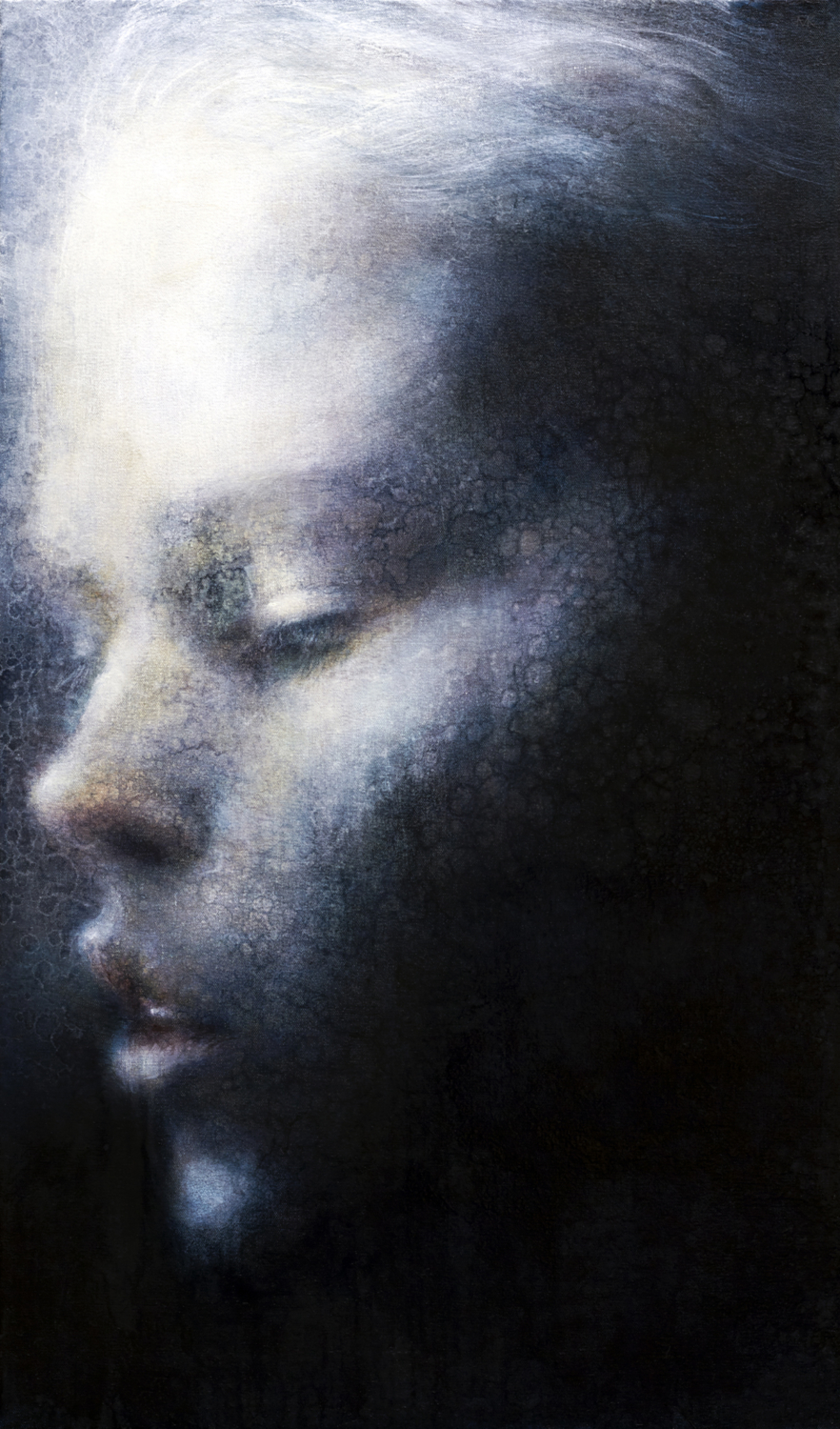 """Maya Kulenovic; Archive paintings: Faces; ICE, 2012, oil on canvas, 38.5"""" x 22"""""""