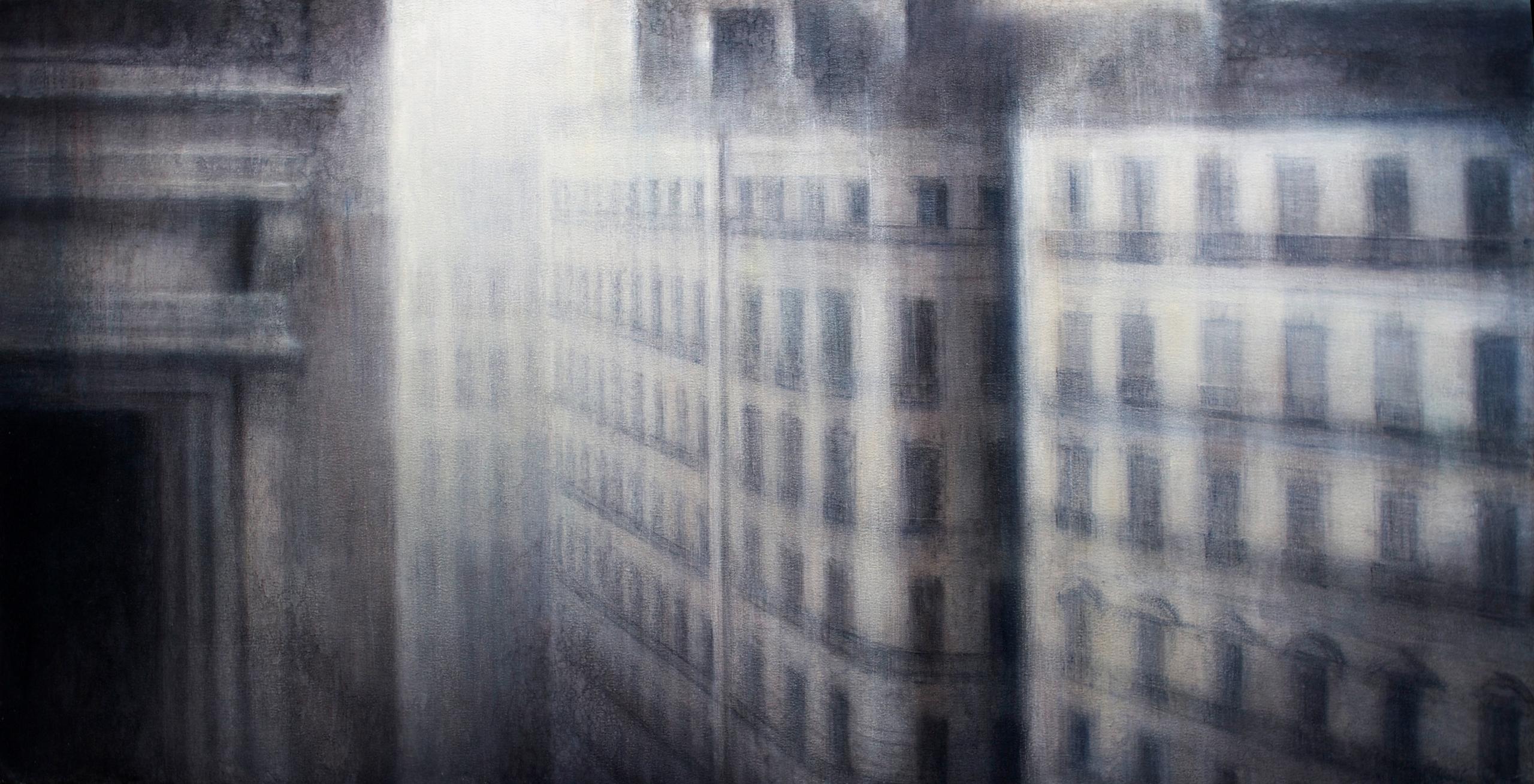 "Maya Kulenovic: PARIS / CANYON, 2018, oil on canvas, 34"" x 63"" (86cm x 160cm). 'Build' Series. (Achitectural, Cityscape)"