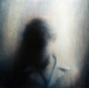 "Maya Kulenovic: STATION, 2017, oil on canvas, 47"" x 47"" (119cm x 119cm). 'Faces' Series."
