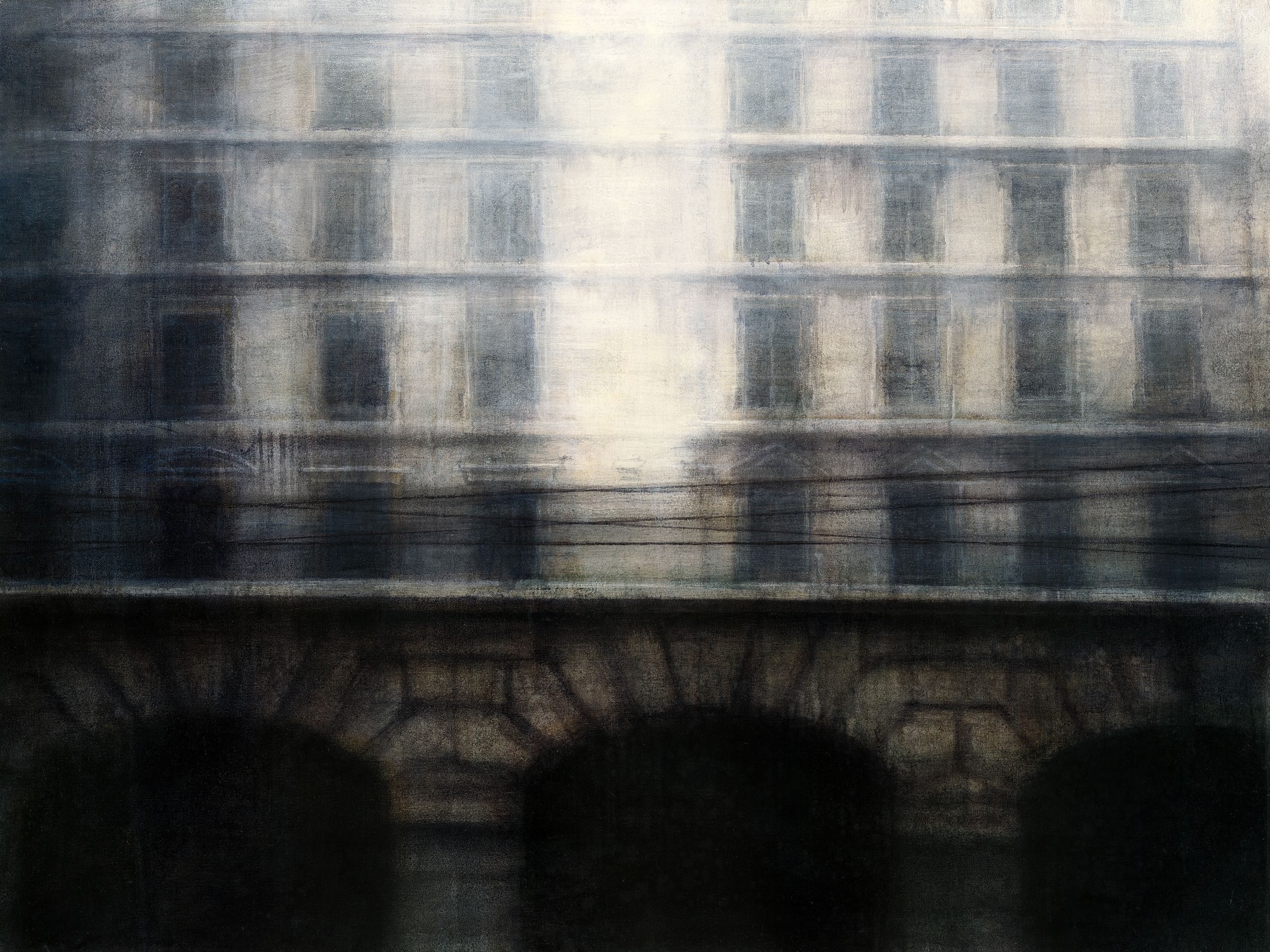 "Maya Kulenovic: TRADUCTIO, 2012, oil on canvas, 36"" x 48"" (91.5cm x 122cm). 'Build' (Architectural, Cityscape)"
