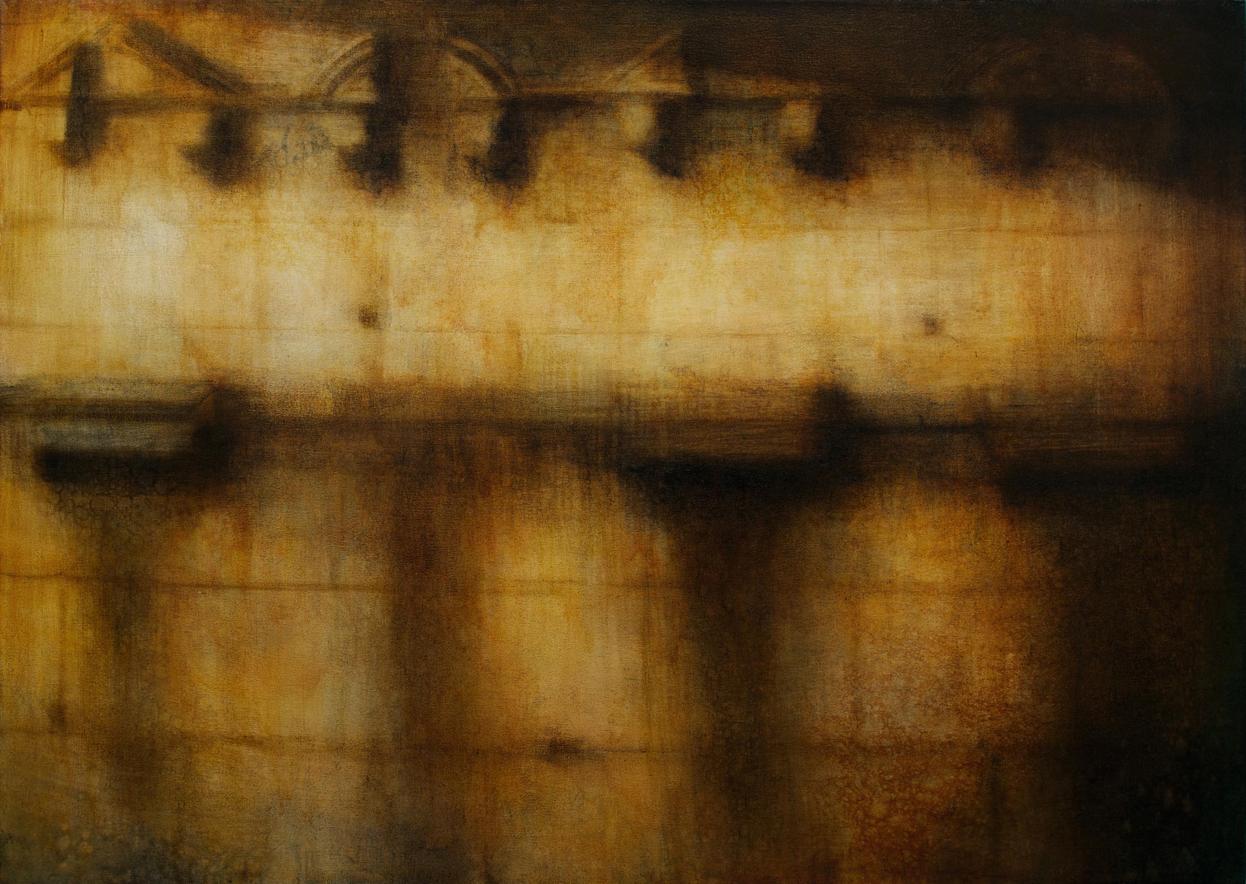 "Maya Kulenovic: VENERATION 2015-16, oil on canvas, 41"" x 57"" (104cm x 145cm). 'Build' Series. (Architecture)"