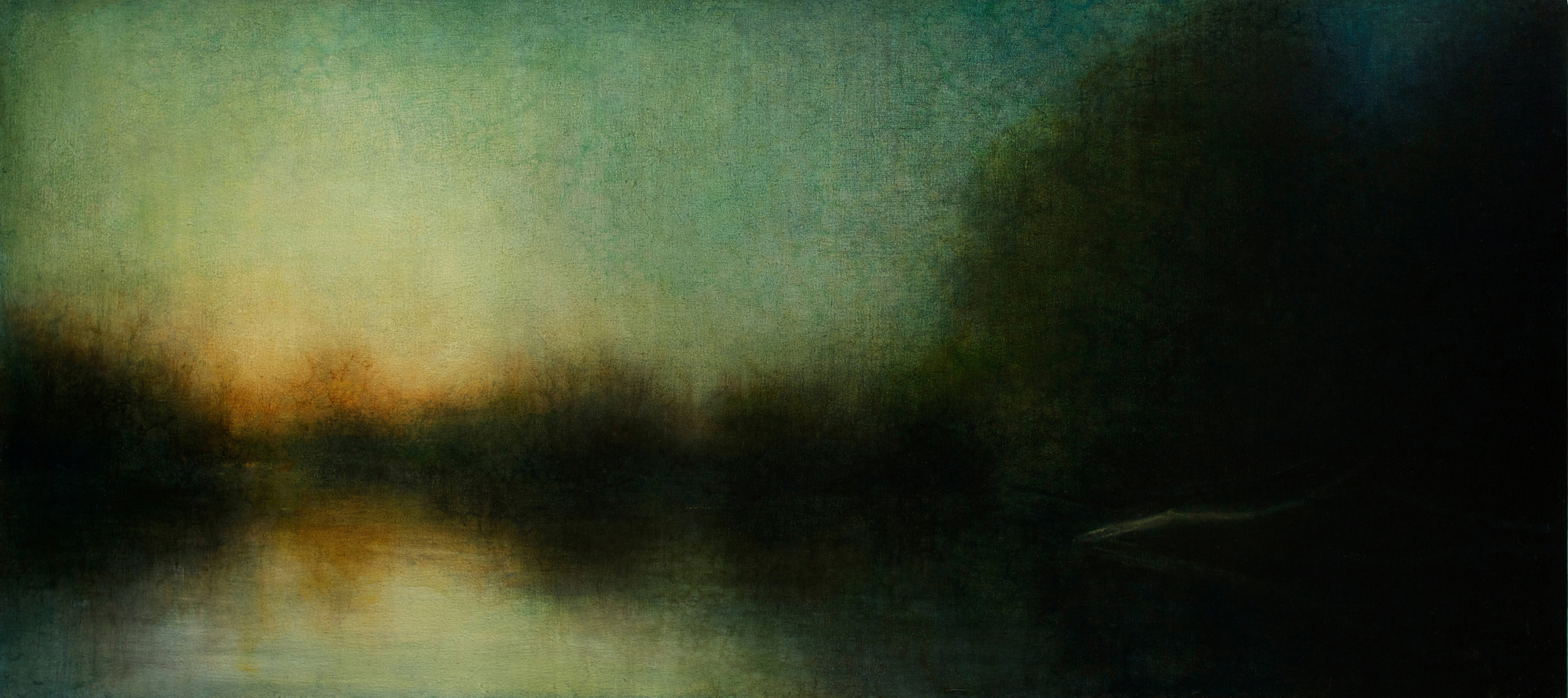 "Maya Kulenovic: WETLANDS / AFTERGLOW, 2014, oil on canvas, 27"" x 55.5"" (69cm x 141cm). 'Land' Series; 'Wetlands' Series."
