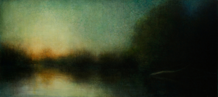 "Maya Kulenovic: WETLANDS / AFTERGLOW, 2014, oil on canvas, 27"" x 55.5"" (69cm x 141cm). 'Land' Series."
