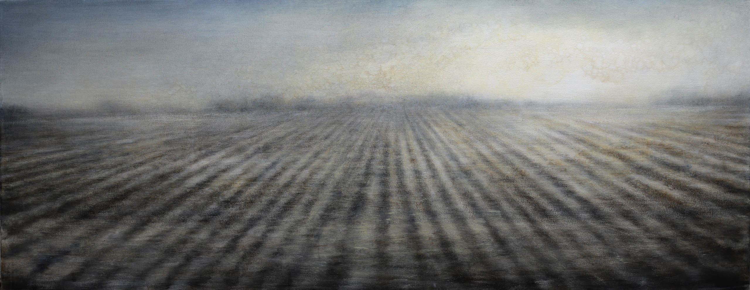 "Maya Kulenovic: WIND PLAIN, 2018, oil on canvas, 30.5"" x 74"" (76cm x 188cm). 'Land' Series."