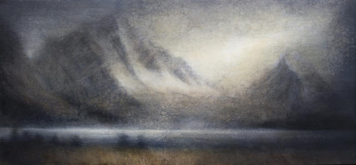 "Maya Kulenovic: WINDWARD, 2018, oil on canvas, 27"" x 55"" (69cm x 140cm). 'Land' Series."