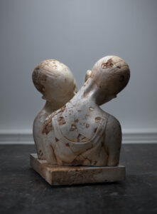 Sculpture by Maya Kulenovic. SLEEPER / REMNANT, TWINS (Var. #4 and Var. #5), 2021. polymerized concrete, sand, iron oxide.